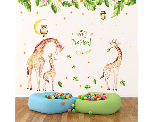 Wall Sticker Double Tropical Giraffe - JM7333